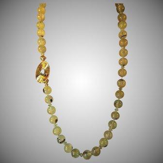 28 inch, Prehnite Gemstone Necklace