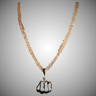 Rose Quartz, Sterling Silver Necklace