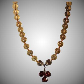 Quartz With Glass Pendant Necklace