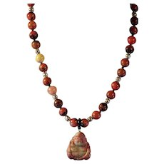 Natural Rhodonite, Carved Buddha,And Beads, Necklace, Earrings