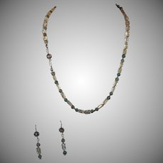 Apatite, Clear Citrine Necklace, Earrings