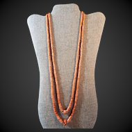 Long,Ethnic, Natural Salmon Coral, Necklace