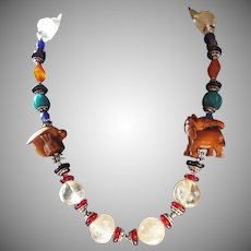 Wood Ojime, Beads With Peking Glass Necklace