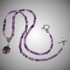 Natural Amethyst, Sterling Silver Necklace