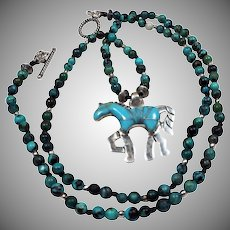 Kingman Mine Turquoise Beads,With  Sterling Silver, Turquoise Inlayed Horse Pendant, Necklace