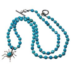 Natural Faceted Turquoise, Sterling Silver Pendant, Necklace