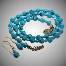 Natural Turquoise, 23 inches, Star Cut, Necklace, With Earrings