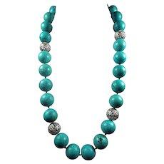 Huge, 20mm, Blue Magnesite, Necklace, 26 inch