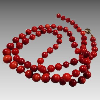 Vintage, 29 inch, Natural, Italian Dark Red, Coral Necklace
