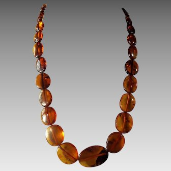 Vintage, Cognac, Baltic Amber Necklace, With Earrings