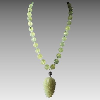 Prehnite And Celadon Nephrite Jade Pendant, Earrings