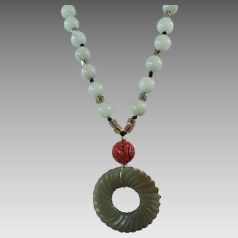 Chinese, Celadon Green, Pendant, 22 Inch, Necklace, Earrings