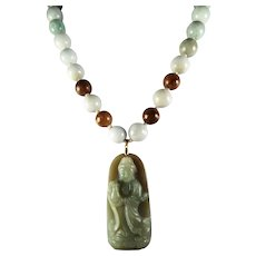 Natural, Undyed, Unprocessed, Jadeite, Kwan Yin Pendant And Beads, Earrings