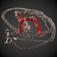 Vintage, Italian, Mediterranean, Red, Branch Coral, Pendant Necklace