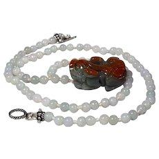 Jadeite, Pi Xiu Ruyi Coin Bead Pendant, Icy Jadeite Round Bead, 18 Inch Necklace. Earrings