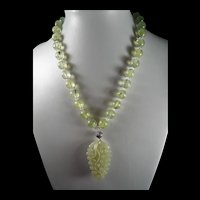 Natural, Prehnite Round Beads, Nephrite Carved Jade Pendant, 20 inches, Earrings