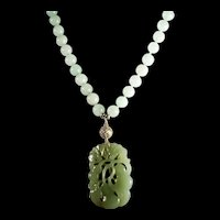 Icy Jadeite, Openwork Gourd Pendant, 10mm Icy Jadeite Beads, 19 inches, Earrings