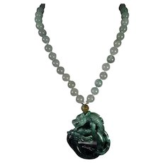 Natural, Oily Green, Jadeite Dragon Pendant, Nephrite Beads, 19 inch, Earrings