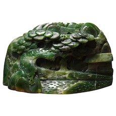 Vintage, Natural, Nephrite, Jade Carving,Landscape, Figure