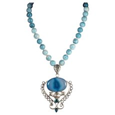 Sterling Silver, Blue Agate Pendant, Large 12mm Beads, 19 Inch, Earrings