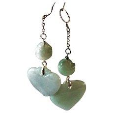 Natural Jadeite, Sterling Silver, Drop Earrings