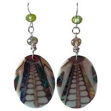 Inlaid, Abalone Shell, Drop Earrings