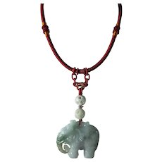 Hand Carved, Unprocessed, Jadeite Elephant, On A Satin Cord
