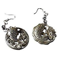 Vintage, Chinese Export, Mixed Metal, Handmade, Drop Earrings