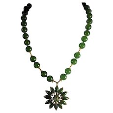 Natural Xiu Nephrite  Jade Necklace, Prong Set, Jade Pendant
