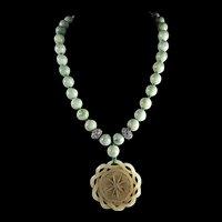 Nephrite Openwork, Chinese Pendant, Jadeite Beads, 22 inches