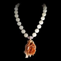 Agate Peony , Nephrite Jade, Necklace, 19 Inches