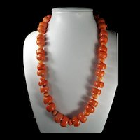 Precious, Natural, Salmon Coral, 230 Grams, 26 Inch, Barrel Bead Necklace