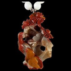 Fancy Agate, Carved, Birds and flower Pendant, Certified Jadeite Beaded, 20 Inch Necklace, Earrings