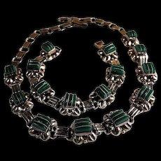 Vintage,  C.1940s , Taxco , Sterling Silver, Green Onyx Stone, Necklace, Bracelet Set