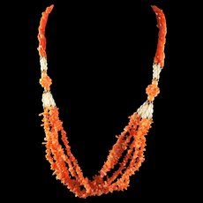 Gorgeous, Vintage, Designer, 14k Gold, Angel Skin, Salmon Coral, Pearl Necklace, 23 inches