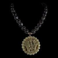 Nephrite Jade Openwork Pendant, Labradorite Bead Necklace, 18 Inch