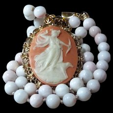 """Greek Goddess, Diana , Cameo, Natural Angel Skin Coral, Beaded Necklace, Earrings, 20 """""""