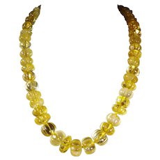 Absolutely, Gorgeous, Genuine, Unprocessed, Golden Citrine, Melon Carved, Bead Necklace, 21 inches