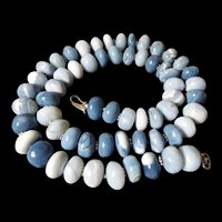 Natural, Hand Carved, Blue, Peruvian Opal Necklace, 22 Inches, Earrings