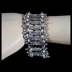 Vintage, Taxco, Mexico, Wide, Sterling Silver, Bracelet