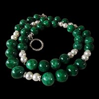 Imperial Green Jadeite, Freshwater Pearls, Necklace, 21 Inches. Earrings