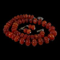 Natural. Unprocessed, Handcarved, Carnelian, Melon Bead, Necklace, 20 Inches, Earrings