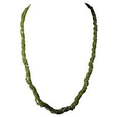 Triple Strand, Spring Green, Peridot Gemstone Necklace, Sterling Silver