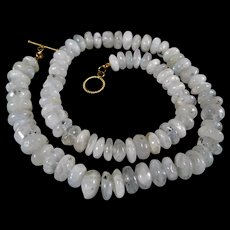 Natural, Unprocessed, Hand Carved, Rondelle, Moonstone, Necklace, 20 Inches