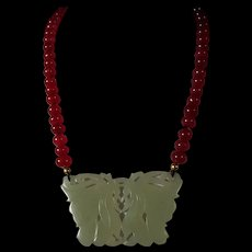 Hetian Jade, Carved Two Fairies Pendant, Earth Mined Ruby Beads, 21 Inches, Earrings