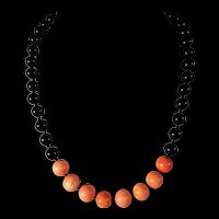 Black onyx, Natural Salmon Coral Necklace, 22 Inches, Earrings