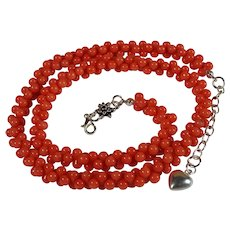 Natural Salmon Coral, Barbell Shaped, Interlock, Bead Necklace 18 Thru 21, Inches
