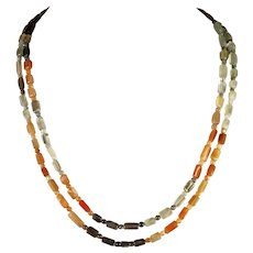 Double Strand, Natural Tricolor Moonstone Necklace, 19 and 20.5 Inch Strands, Earrings