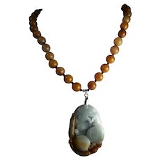 Natural Carved Jadeite Pendant, Rust Color Agates, 18 Inches, Earrings
