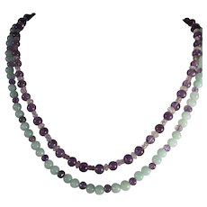 "Double Strand, Gemstone Necklace, 20"" and 21"", Earrings"